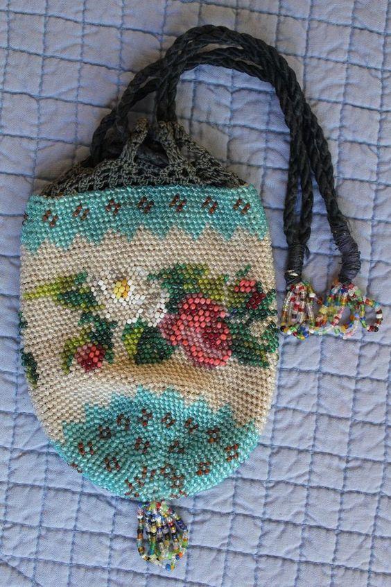 BEADED EX COND Blue Sawtooth Crochet Tassels c1870 Victorian Drawstring Antique #Drawstring