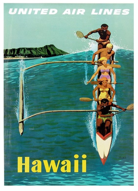 Vintage Poster - Travel Hawaii American Airlines - Beach