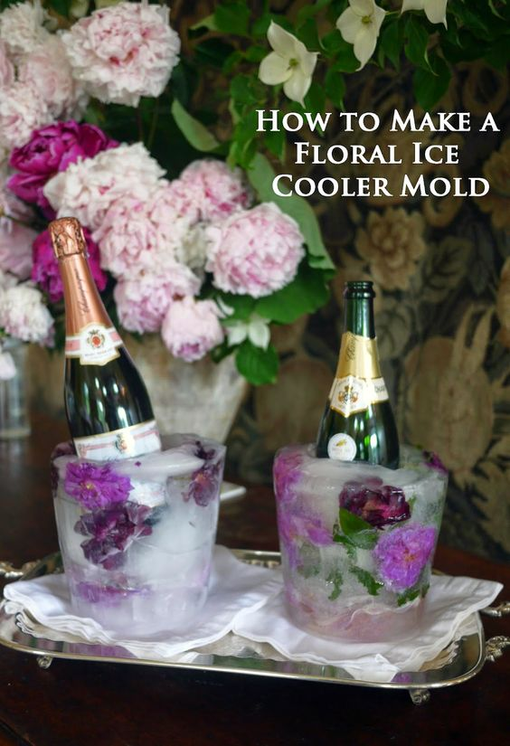 Buggy Designs Blog: DIY Floral Ice Bucket Cooler for Wine, Champagne and Spirits .....will need these for mimosa bar!: