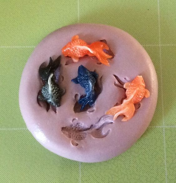 koi fish silicone mold multi cavity clay glue resin mod