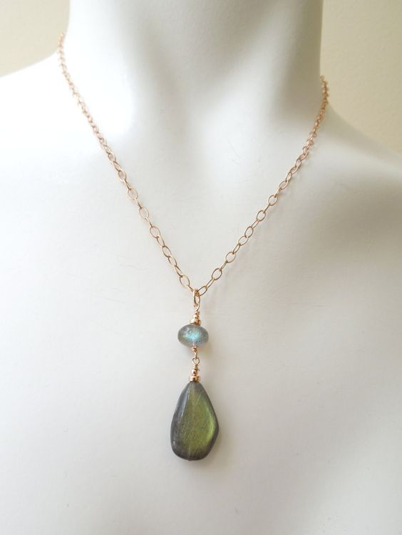 Labradorite Pendant Necklace: Gold Flash Labradorite, Blue Flash Labradorite, 14K Rose Gold Filled Adjustable Chain, Textured Chain by seemomster on Etsy