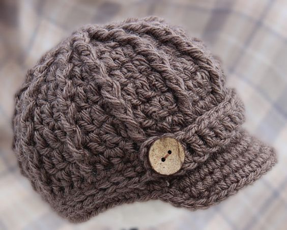 Newborn Boy Newsboy Hat Cap with Brim - TAUPE - Knitted / Crochet - Baby / In...