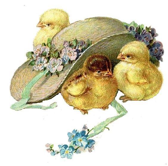 Glanzbilder - Victorian Die Cut - Victorian Scrap - Tube Victorienne - Glansbilleder - Plaatjes : Küken und Hut
