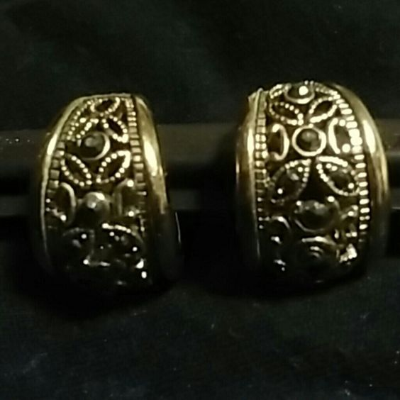 Gold Tone Marcasite Earrings Cute pierced earrings open design with marcasite crystals. Very sweet! Jewelry Earrings
