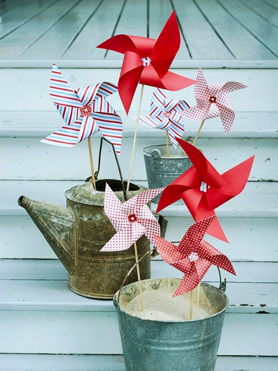 Pinwheel Entrance - it's easy to make these - just use a straw, cut a square from the corner to an inch before the middles and insert a pin - voila -