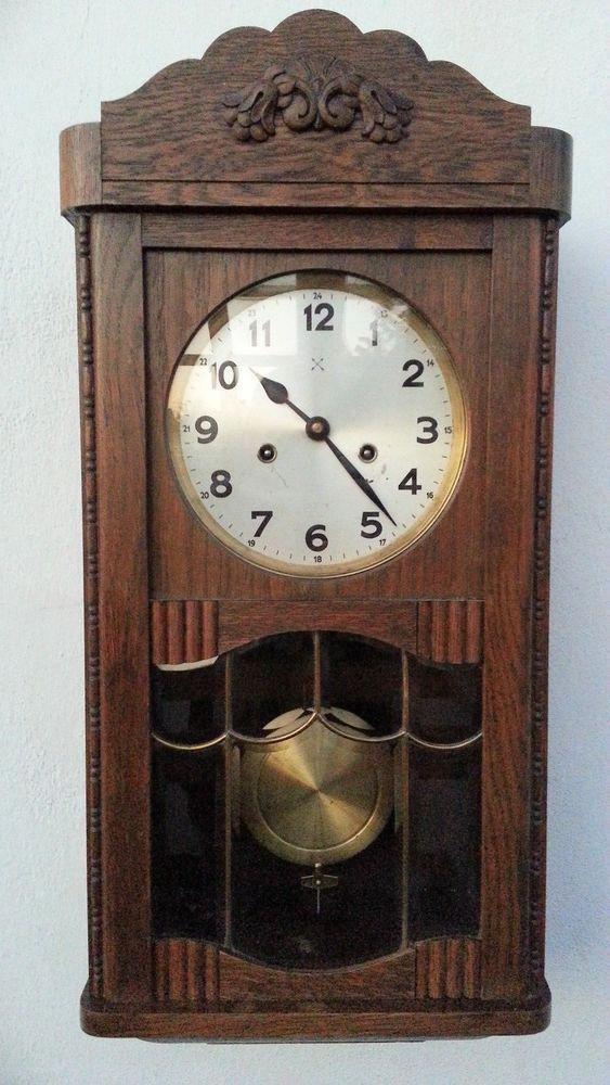 Antique Hac Junghans German Pendulum Wall Clock Regulator With Gong Antique Wall Clocks Pendulum Wall Clock Wall Clock