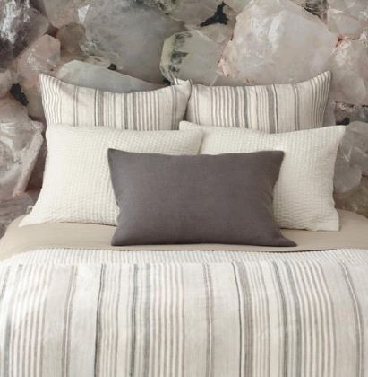 Grey is in high demand ... striped linen duvet and shams from Pine Cone Hill at Painting with Flowers, pwfhome.com