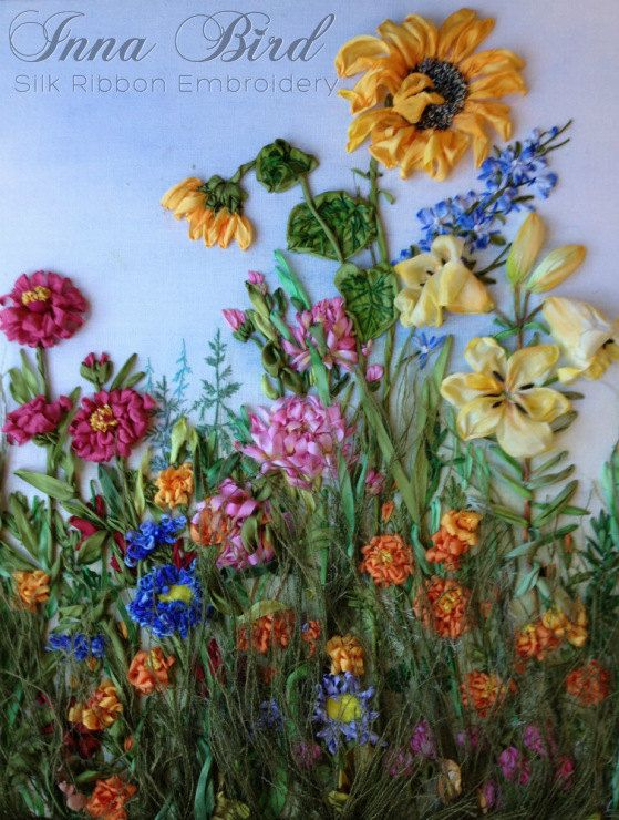 Garden flowers original silk ribbon embroidery textile art