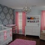 Beautiful girl's nursery with wall stencil; need different colors and a less obnoxious stencil - but like the thought