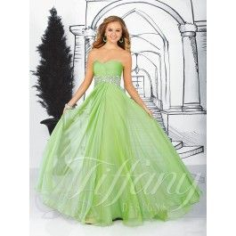 A strapless sweetheart neckline with a shirred empire bodice off set by a delicate rhinestone and bead waistband design with a full skirt in chiffon #Tiffanydesigns #houseofwu #chiffon #prom #dress #pretty #beautiful