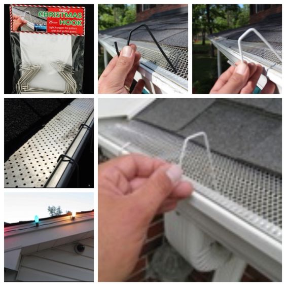 Christmas Hook Is A Christmas Light Hanger Designed For Gutters With Mesh Or Perforated Gutter Guard Christmas Light Clips Christmas Light Hanger Gutter Guard