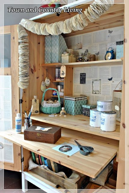 Little craft studio inside an Ikea cabinet -so clever! from: Town and Country Living