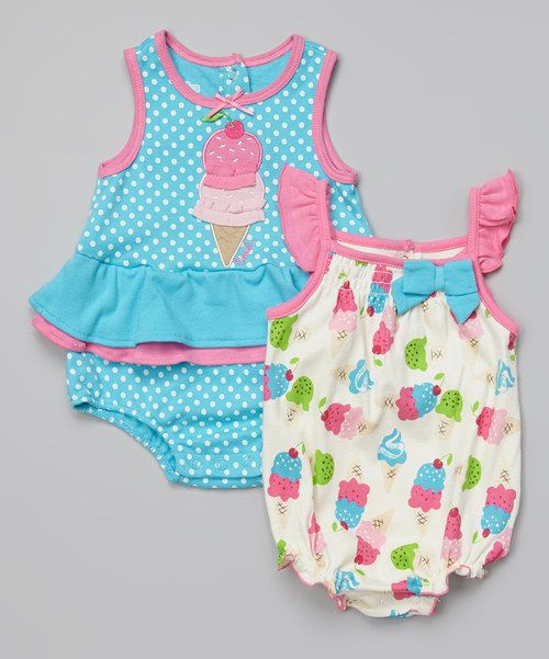 Another great find on #zulily! Blue & Ivory Ice Cream Romper Set - Infant by Watch Me Grow #zulilyfinds