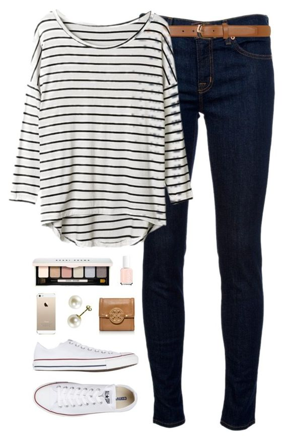 ootd by classically-preppy on Polyvore featuring J Brand, Converse, Tory Burch, Dorothy Perkins, Bobbi Brown Cosmetics and Essie: