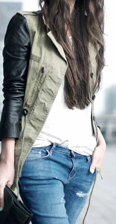Leather sleeves.: Utility Jacket, Fashion Style, Army Green Jackets, Leather Jackets, Fall Winter, Leather Sleeves