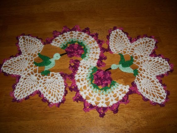 Free Crochet Hummingbird Doily Pattern : Another color for hummingbird doily. Some of My Crochet ...