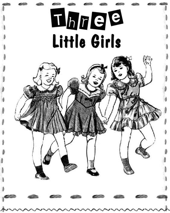 Free Vintage Digital Stamp: Three Little Girls...