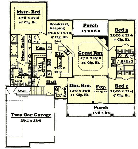 Country Style House Plans 2400 Square Foot Home 1