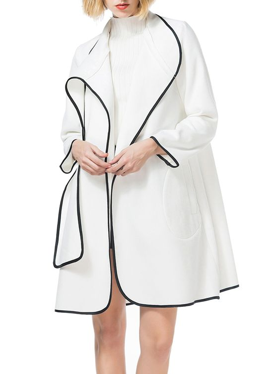 Asymmetric Neck Plain Long Sleeve Coats