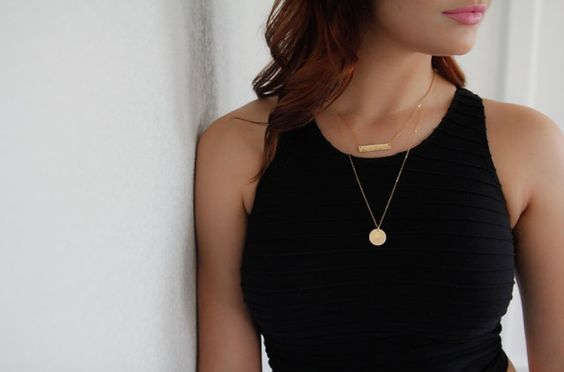 """14k Gold filled hand stamped necklaces -- the perfect layering necklaces & personalized just for you!   Hand stamped by Classy Mama Designs.     •••Details-- hammered gold bar nameplate necklace -- 17"""" length.  5/8"""" Gold coin necklace -- 24"""" chain."""