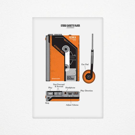 Stereo Cassette Player Poster  Walkman Anatomy by DefenseDAfficher, €30.00, no es propaganda pero recuerdos aquellos, y el diseño ya era nice...