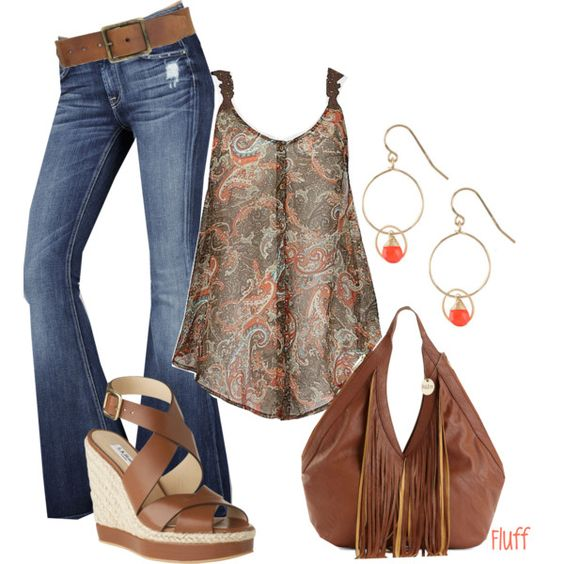 "brown paisley tank, dark brwn sandal, put a pin on strap to jazz it up  ""paisley"" by fluffof5 on Polyvore"
