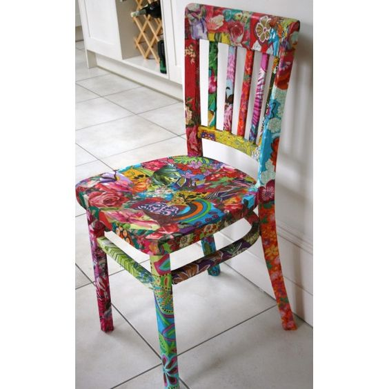 I've done this to a chair before and it's so much fun! Definitely need to do it again - you could really customize your kitchen or desk chairs!
