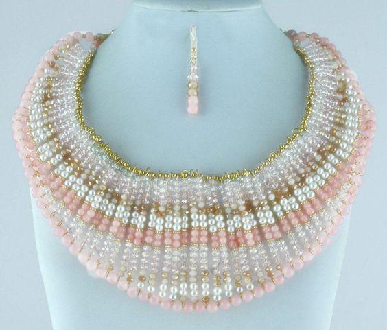 Women Fashion Light Pink Color Faux Pearl Bib Beads Necklace Earrings Set #LaCoquetaJewelry #Bib #ebay