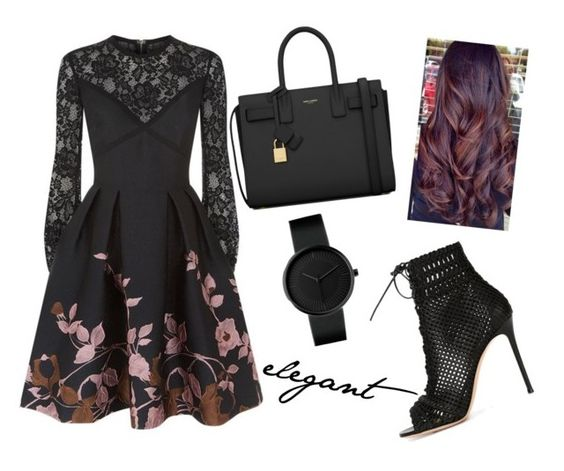 """""""elegant fall"""" by rhianna-alexandre ❤ liked on Polyvore featuring Elie Saab, Gianvito Rossi and Yves Saint Laurent"""