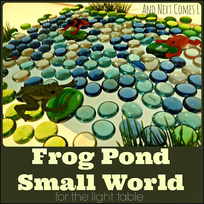 Frog pond small world for the light table light for Small frog pond ideas