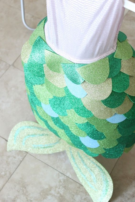 A no-sew, easy-to-make homemade mermaid costume for kids.