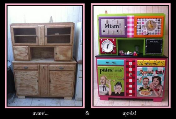 relooker un buffet de cuisine ancien avec des couleurs du collage de la peinture soyez. Black Bedroom Furniture Sets. Home Design Ideas