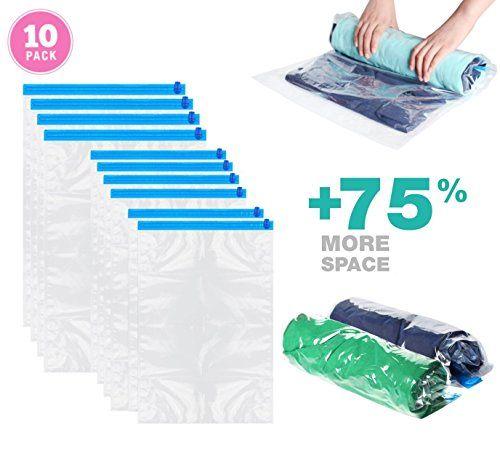Ineibo Sac Rangement Vetement Sous Vide 10 Pochette Transparente A Double Glissiere Bleu Rangement Vetement Pochette Transparente Rangement