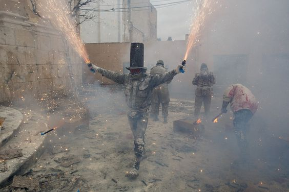In a tradition that dates back more than 200 years, the town of Ibi, Spain, celebrates the festival of Els Enfarinats on December 28 with a mock battle taking place outside the town hall.