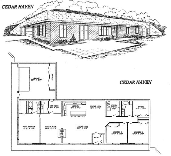Earth berm eco home designs pinterest home design for Earth sheltered floor plans