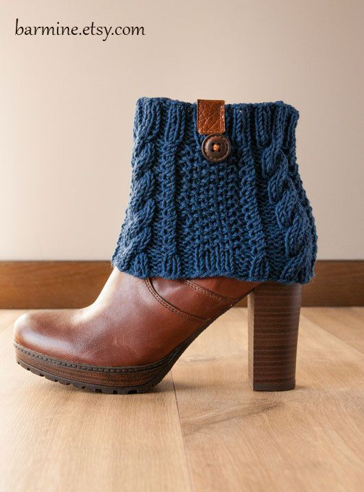 Navy Blue Boot Cuff with leather and wooden button, Cable Knit Boot Topper, Boot Socks, Faux Leg Warmers, Merino, Boot toppers, Boot cuffs: