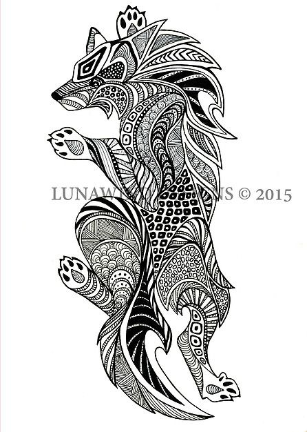 intricate wolf pup coloring pages - photo#6