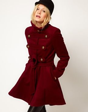 ASOS Premium Military Drop Back Coat in black or deep red burgundy