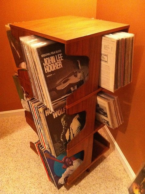 Danish Mid Century Modern Spinning Record Rack Holds