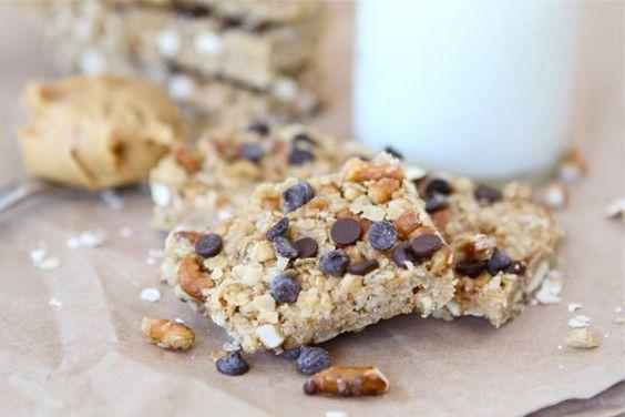 No-Bake Peanut Butter Pretzel Chocolate Chip Granola Bars-Two Peas and Their Pod