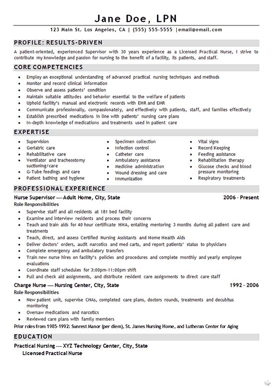 Nurse LPN Resume Example Resume examples, Campaign and Lpn nursing - core competencies resume