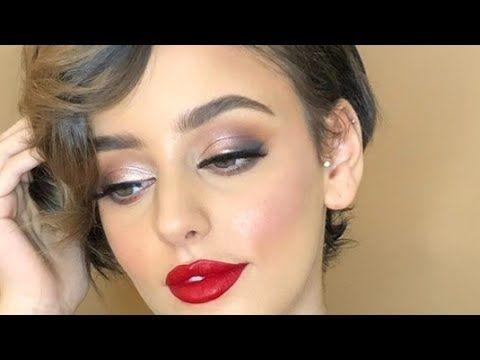 مكياج سموكي برونزي ناعم مع روج احمر Youtube Makeup Tutorials Youtube Makeup Tutorial Makeup
