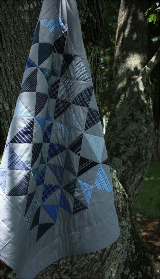 Baby Quilt Kit Hour Glass  Blue and Gray by PebbleCreekArts