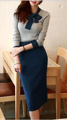 I LOVE THIS: the colors, the detail at the neck, the skirt length. bow neck sweater dress, retro feel, feminine silhouette