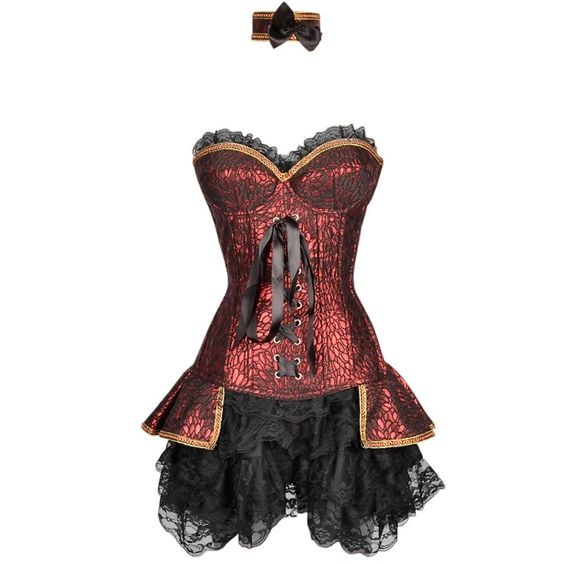 Red Spiral Steel Boned Renaissance Outfit