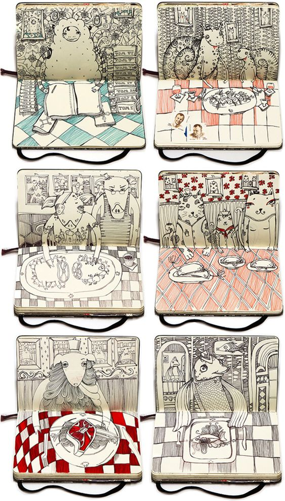 Nataliya Platonova has filled her Moleskin notebook with a cast of eclectic characters feasting on dinner.