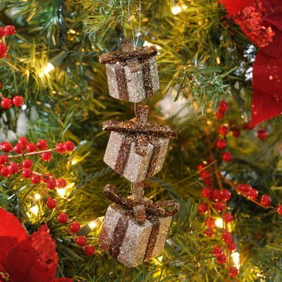 "Brown Glitter Triple Gift Ornament, Set of 3 | Kirklands - $8.39 (temp sale - normally 13.99/3) - 8"" H"