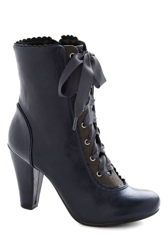 Flair-y Tale Boot in Midnight Blue | Mod Retro Vintage Boots | ModCloth.com---NEED PLEASE