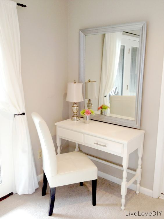thrift store desk turned bedroom vanity table (Seen here