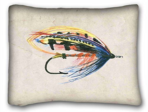 Tarolo Decorative Fly Fishing Lure Art Salmon Printed Polyester Pillow Case Cases Cover Cushion